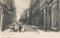 1810 Gezicht op de Lange Burg te Middelburg met in het midden rechts de hoek met de Wal