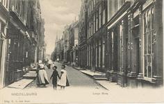1826 Gezicht op de Lange Burg te Middelburg met rechts in het midden de hoek met de Wal