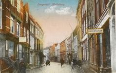 1839 Gezicht op de Lange Delft te Middelburg vanaf de Markt in de richting van de Oude Kerkstraat