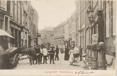1855 Gezicht vanaf de Grote Markt op het begin van de Lange Delft te Middelburg
