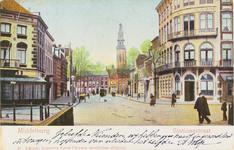 2132 Gezicht in de Stationsstraat te Middelburg met links de hoek met de Blauwedijk (verhuurder van paarden en ...
