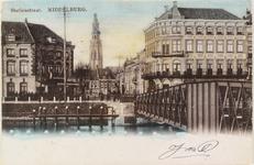 2137 Gezicht in de Stationsstraat te Middelburg met de brug en op de achtergrond de Abdijtoren