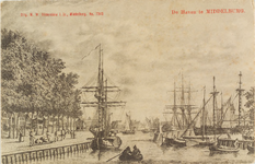 2427 Gezicht op zeilschepen bij de Punt van de haven te Middelburg. Reproductie van een kopergravure, circa 1790, uit ...