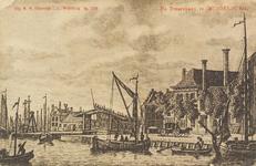 2482 Gezicht op de Dwarskaai te Middelburg. Reproductie van een kopergravure, circa 1790, uit W.A. Bachiene. ...