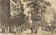 2503 Gezicht op de Rotterdamsekaai te Middelburg. Reproductie van een kopergravure, circa 1790, uit W.A. Bachiene. ...