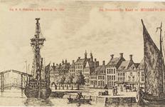 2552 Gezicht op de Rouaansekaai te Middelburg.Reproductie van een kopergravure, circa 1790, uit W.A. Bachiene. ...