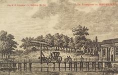 2602 Gezicht op de Noordpoort met de buitenbrug te Middelburg. Reproductie van een kopergravure, circa 1790 uit W.A. ...