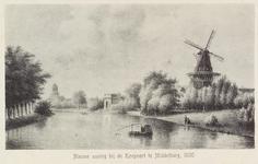 2677 Gezicht op de Noordvest bij de Koepoort te Middelburg met op de voorgrond een visser en rechts de Branderijmolen. ...