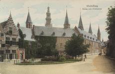 2818 Gezicht op de Balans te Middelburg met het plantsoen en de achterzijde van de Abdij