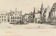 2836 Gezicht op de Balans te Middelburg met het plantsoen en fontein, de Sint Jorisdoelen, een deel van de Abdij en ...