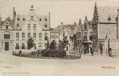 2839 Gezicht op de Balans te Middelburg met het plantsoen en fontein, de Sint Jorisdoelen en een deel van de Abdij