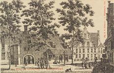 2844 Gezicht op de waag en het schuttershof St. Jorisdoelen aan de Balans te Middelburg. Reproductie van een ...