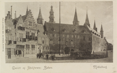 2861 Gezicht op de Balans te Middelburg met het plantsoen, fontein, een deel van de Abdij en de Balanspoort