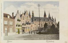 2863 Gezicht op de Balans te Middelburg met het plantsoen, een deel van de Abdij, de Balanspoort en poserende personen