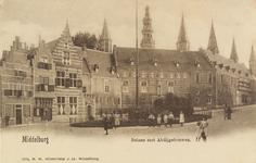 2875 Gezicht op de Balans te Middelburg met een deel van de Abdij en poserende jeugd voor het plantsoen.