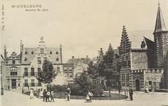2887 Gezicht op de Balans te Middelburg met het plantsoen met fontein, de Sint Jorisdoelen, een deel van de Abdij en ...