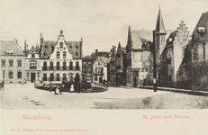 2891 Gezicht op de Balans te Middelburg met het plantsoen, de Sint Jorisdoelen, een deel van de Abdij en poserende personen