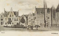 2894 Gezicht op de Balans te Middelburg met het plantsoen, de Sint Jorisdoelen, een deel van de Abdij en poserende kinderen,