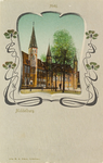 2923 Gezicht op het Abdijplein te Middelburg met het Rijksarchief en de Balanspoort.In jugendstilomlijsting