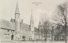 2967 Gezicht op het Abdijplein te Middelburg met het gastenverblijf van de gouverneur des konings, de S.P.Q.M-poort, ...