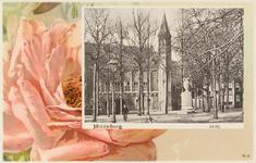 3015 Gezicht op het Abdijplein te Middelburg met de pomp met vaas, de Balanspoort en rechts hotel de Abdij, tegen een ...