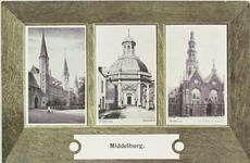 3369 Gezichten op het Abdijplein, de Oostkerk en de Nieuwe Kerk te Middelburg