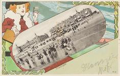 3963 Een tekening met een foto van het badstrand en het Grand Hotel des Bains, het latere Britannia, te Vlissingen