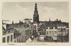 4182 Gezicht op de Kerkstraat met de Sint Jacobstoren, gezien vanaf het Bellamypark te Vlissingen