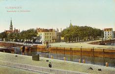4197 Gezicht op de hoek Nieuwendijk / Bellamykade met de Beursbrug en hotel Goes te Vlissingen
