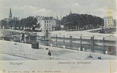 4199 Gezicht op de hoek Nieuwendijk / Bellamykade met de Beursbrug en hotel Goes te Vlissingen