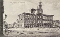 4564 Het afgebrande stadhuis te Vlissingen, naar een gravure.