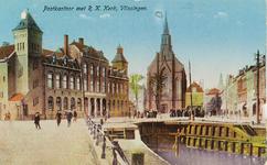 4632 Het Postkantoor aan de Steenen Beer en de Rooms Katholieke Kerk te Vlissingen