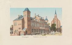 4633 Het postkantoor aan de Steenen Beer en de Rooms Katholieke Kerk te Vlissingen
