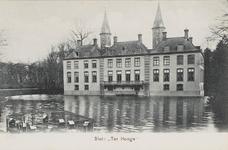 540 De achterzijde van slot Ter Hooge bij Kouderkerke met drijvende gazen eendenhokken in de slotvijver