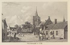 5547 Gezicht op een straat in Heinkenszand met de Nederlandse Hervormde kerk en het raadhuis (met zonnewijzer aan ...