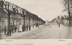 5737 Gezicht op de met leilinden beplante Dorpstraat in Oudelande