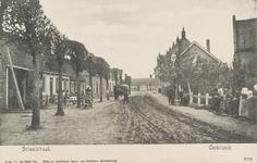 5738 Gezicht op de met leilinden beplante Schoolstraat in Oudelande