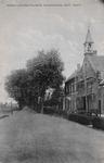 7474 Gezicht op de Gereformeerde kerk met een stelling ervoor en de bijbehorende pastorie aan de Noordweg in de Anna ...