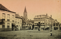 7814 Gezicht op de Markt te Terneuzen met links hotel De Commerce en rechts het hotel-café en restaurant Centraal, met ...