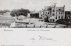 7852 Gezicht vanaf de westbeer op de Nieuwstraat en het in 1901 gebouwde postkantoor te Terneuzen. Links het ...