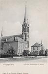 7949 Gezicht op de pastorie, R.K. kerk en het gemeentehuis te Westdorpe