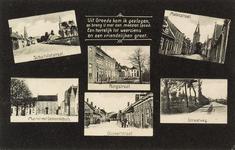 8317a Zes gezichten op Groede; de Schuitvlotstraat, de Ringstraat, de Molenstraat, de Markt met het gemeentehuis, de ...