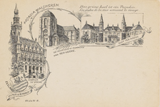 903 Het stadhuis en de Kolossus of Domkerk te Veere en Slot ter Hooge, naar tekeningen van W.J. van N.-R
