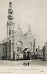 9915 Gezicht op de Nieuwe Kerk en de Abdijtoren aan de Groenmarkt te Middelburg