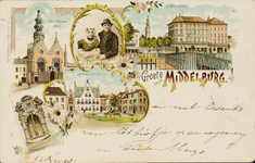 9937 Vijf afbeeldingen te Middelburg: de Nieuwe Kerk met Abdijtoren, een vrouw en man in Walcherse klederdracht, de ...