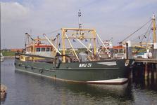 BRU-2898 Bruinisse. Haven. Kokkelvaartuig BRU 31, 'Gerrit'. Bouwjaar 1988. Eigenaar: de gebroeders Kik