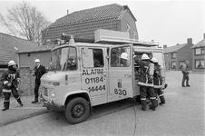 JVH-1579 Oosterland. Kerkstraat. 'Brand' in pastorie Hervormde Kerk. Een team van de gemeente Brouwershaven in actie ...