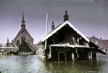 RK-1654 Kerkwerve. Watersnoodramp 1953. Gezicht op de Ned. Herv. kerk.