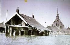 RK-1659 Kerkwerve. Watersnoodramp 1953. Gezicht op de Ned. Herv. kerk.