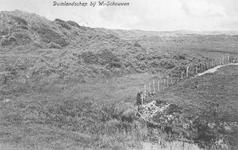 WA-1135 Westenschouwen De duinvoet langs het Westerstrand. De weiden van boerderij 'Duinoord' liepen toen nog door tot ...